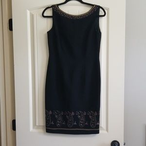 Maggy London Petites Embroidered Black Dress